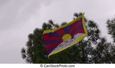tibet exile flag in Dharamsala, Himachal Pradesh, India