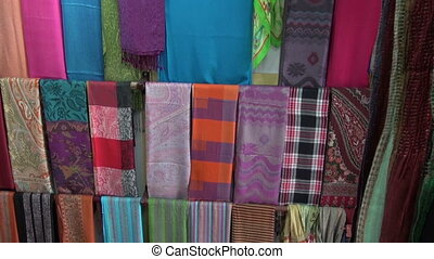 colorful shawls in asia market