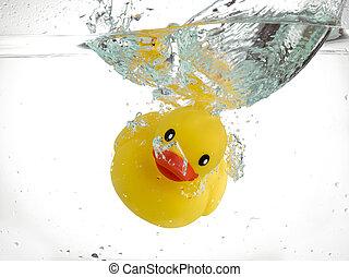 sinking rubber duck - Cute rubber duck sinking on water