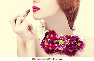 hermoso, pelirrojo, niña, flores, tenencia,...