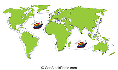 Freight Transportation logistic with World map