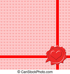Background with Valentines sealing wax stamp, vector...