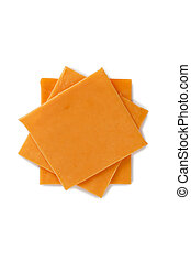 slices of cheddar cheese - Close-up image of slices of...