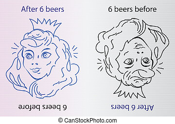 After 6 beers - funny drawing - Vector illustration