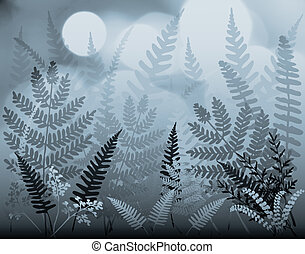 Moonferns - Illustration of mixed ferns under blue moonlight