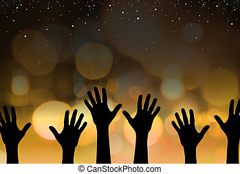 Star reach - Abstract illustration of hands reaching for the...