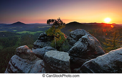 Sunset in mountain with sun - panorama - Czech Republic