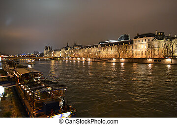 Nighttime Paris - View of Seine River in nighttime Paris,...