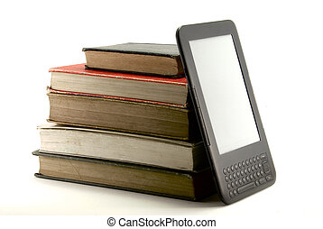 ebook and books II - side view of an ebook-reader next to a...