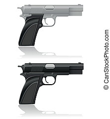 silver and black automatic pistol vector illustration...