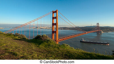 Golden Gate bridge with skyline