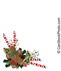 Christmas Gingerbread man corner - Image and Illustration...