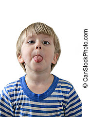 Little boy sticking out his tongue, white background