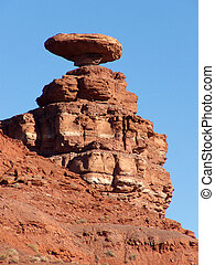 El Sombrero - Precarious rock formation near Mexican Hat,...