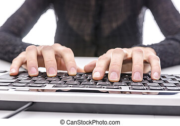 Closeup of a business woman typing on keyboard - Closeup of...