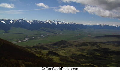 Aerial shot of Paradise Valley near Livingston Montana