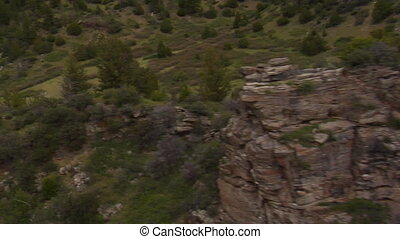 Aerial shot of rocky outcrops