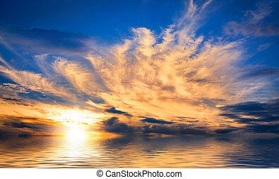 Spectacular sunset at sea