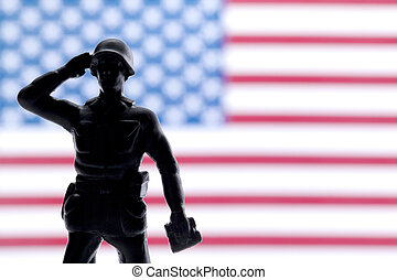 soldier saluting - Soldier saluting and giving honor on his...