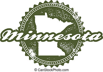 Vintage Style Minnesota State Stamp - Distressed classic...