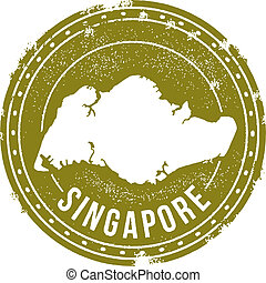 Vintage Singapore Stamp - Classic style vector Singapore...