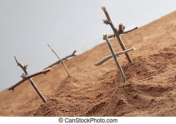 soldiers grave - Dead soldiers grave with crosses