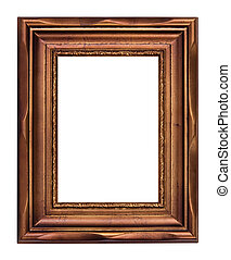 Vintage bronze picture frame isolated over white (clipping...