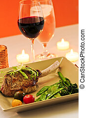 Veal dinner - Gourmet romantic dinner with red wine at...