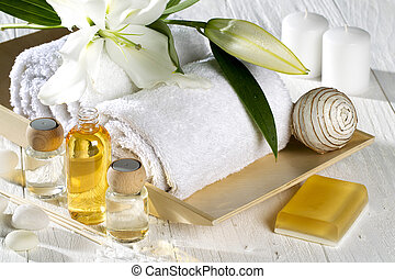 spa products - A different spa product on a white wood