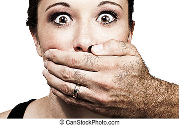 speak no more - A man's hand holds a young woman's face,...