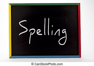 spelling written on slate board - Spelling written on slate...
