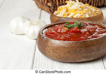 spicy salsa dip - Close up image of spicy salsa dip on...