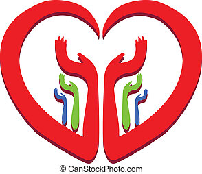 Heart with hands logo  - Hands and heart logo vector