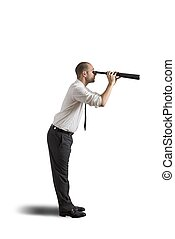 Businessman with telescope - Businesswoman with telescope on...