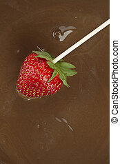strawberries on melted chocolate