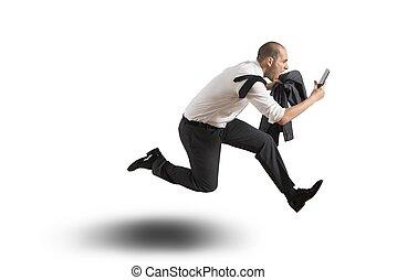 Running businessman on white background
