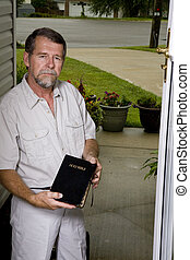 Preacher at your door - Local church peacher inviting...