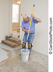 Painting garage floor - Contract painter painting garage...