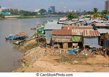Poor district in Phnom Penh, Cambodia - The poor area near...