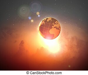 Image of earth planet in space against illustration...