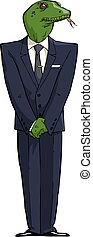Reptile in a suit on a white background vector illustration