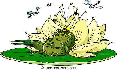 Toad on lily - Cartoon toad lily is on vector illustration