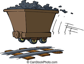 Trolley with ore on rails vector illustration