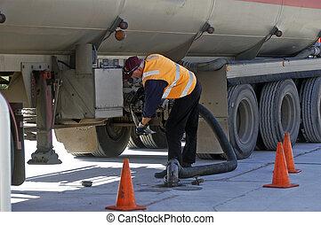 combustible, entrega, australiano, servicio, estación
