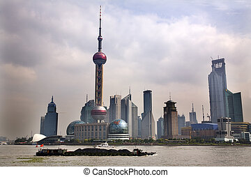 Shanghai Pudong Skyline TV Tower Daytime with Boat -...