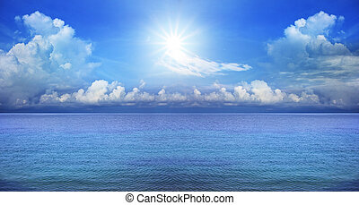 panorama of blue sky and sun shining use as natural...