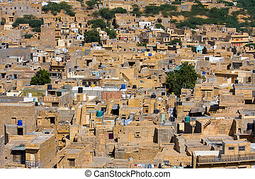 Jaisalmer, Rajasthan, India - City view of Jaisalmer, a city...