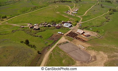 Aerial shot of mountain lodge in Summer