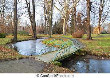 Small Bridge over a rivulet in autumn