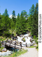 Bridge on mountain river - Bardonecchia area, Piemonte...